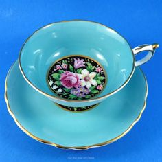Blue Border with Sweet Pea Center on Black Paragon Tea Cup and Saucer Set | Pottery & Glass, Pottery & China, China & Dinnerware | eBay!