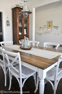 Replace top of dining table with simple wood planks & paint bottom.