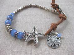 Starfish & Sand Dollar Multi Stone Coastal Bracelet, w Starfish, w Sand Dollar, Beach Boho, Charm Bracelet, Beach Bracelet by SeaSide Strands