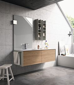 A #concrete finishes for both the wall and the ceiling. #bathdesign #design #MastellaDesign #furniture #wood #wooden #hpl #interiors #decor #interiordesign
