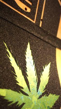 Up close skateboard grip tape art of Ganja symbol. follow #gripptide #snoopdogg #skateboard #griptape #art #skateboardart  #weed #chronic