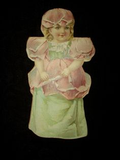 Victorian Stand Up Advertising Stove Polish Paper Doll Trade Card - The Gatherings Antique Vintage
