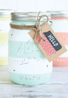 Fun DIY stripes are the perfect messy addition to an old mason jar.