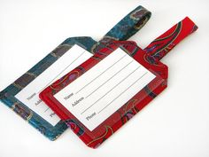 Teal Red Fabric Luggage Tag Recycled Necktie Set by AscotHandbags