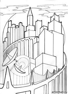 Вариант выполнения композиции в графике -3 #art #design #draw #композиция #графика #мегаполис #artworkshop #artisthall