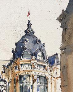Sketching in front of L'Hôtel de Ville, Paris. . . #paris #urbansketchers #urbansketch #usk #uskparis #sketchwalker #sketchcollector…