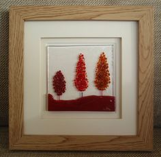 Autumn Red Trees Fused Glass Picture by HighlandHeartDesign on Etsy