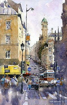"""Rue de St. Jacques, Paris by Iain Stewart  ~ 10"""" x 6.5"""""""