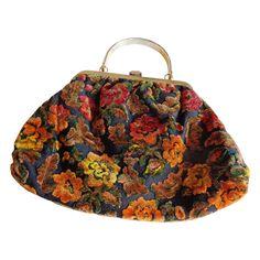 Purse JR Vintage 1960's Fall Colors Carpet Bag from vfv on Ruby Lane