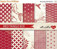 80% OFF Scrapbooking Digital Paper Pack KOI Fish by AllFullOfLove Japanese Background, Japanese Paper, All Paper, Mothers Day Crafts, Gift Wrapping Paper, Arts And Crafts Projects, Journal Covers, Coral Pink, Background Patterns