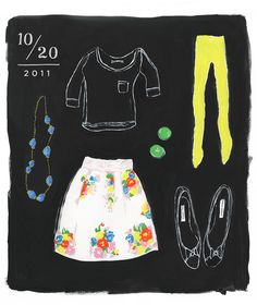 """what i wore today"" series by danielle kroll.  she draws her outfits on her blog.  she's an illustrator and she lives in philadelphia.  awesome."