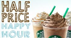 From to for Starbucks is bringing back Frappucino Happy Hours! From 3 pm - 5 pm, all Frappuccino® blended beverages will be sold at half price Good Food, Yummy Food, Tasty, Yummy Yummy, Delish, Great Recipes, Favorite Recipes, Starbucks Secret Menu, Starbucks Rewards