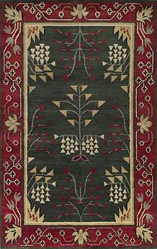 Arts and Crafts rug, Mission rug, Craftsman rug, Bungalow Rug. Thick hand-knotted wool for plush beauty. A keepsake for Mission, Arts and Crafts, Bungalows or Craftsman homes. Pine-Green-1007