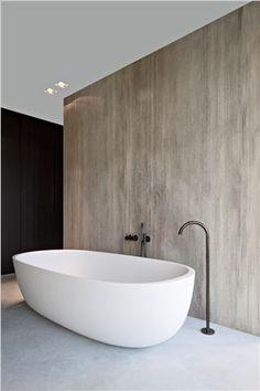 Bathroom in Oak Grey Woodstructure stone by Belgian stone companyHullebusch, design by Anja Vissers