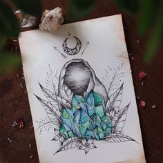 whimsically-intuitive: queenofchalices: luna-patchouli: Visions of aqua ~ for sale in my etsy (LunaPatchouli) ♥︎ honey, you should make an oracle deck. Painting Inspiration, Art Inspo, Crystal Drawing, Crystal Tattoo, Desenho Tattoo, Book Of Shadows, Tattoo Sketches, Painting & Drawing, Amazing Art