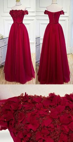 new fashions Long Prom Dress,Chic A-line Burgundy Off-the-shoulder Tulle Appliques Prom Dress Evening Dress H0027
