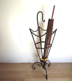 Umbrella Stand. Vintage 80s Wrought Iron Umbrella Stand