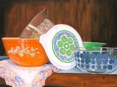 Vintage Pyrex still life colorful glassware Giclee by artbylmr