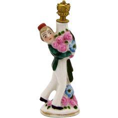 Vintage Art Deco Bellhop Hotel Porter with Flowers German Figural Crown Top Perfume Bottle