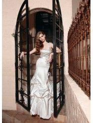 Satin One-shoulder Softly Curved Neckline Overlay Bodice A-line Wedding Dress