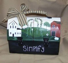 Primitive Country ** Hand Painted ** Vintage Lunch Box.   Folk Art - Saltbox House, Willow Trees, Barn and Sheep.