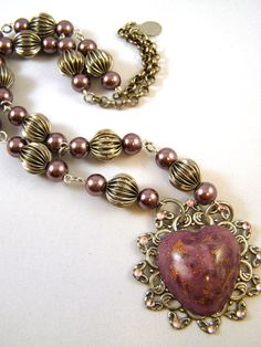 February Challenge, handcast resin faux gemstone heart, gypsy beaded chain with faux pearls and vintage corrugated beads, by Terry Matuszyk, Pink Chapeau Vintage Jewelry.