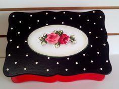 caixa porta joias preto vermelho   Imer  Atelie   Elo7