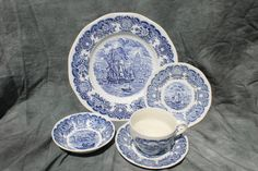 Free Shipping! Vintage Historical Ports of England Blue Transfer Ware Service for Four, 20 Piece