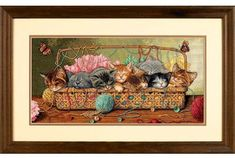 Dimensions Kitty Litter - Cross Stitch Kit. After playtime, these kittens seem to have exhausted themselves in this sweet counted cross stitch design. This litt