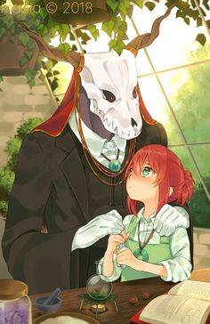 Fanart/poster design featuring the protagonists from the anime Mahoutsukai no Yome (The Ancient Magus Bride) Finished: Mar. Chibi, Chise Hatori, Elias Ainsworth, Sailor Moon, The Ancient Magus Bride, Estilo Anime, Fan Art, Anime Love, Anime Couples