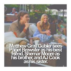 hotchner-jareau: ♡ Matthew Gray Gubler sees Paget Brewster as his best friend, Shemar Moore as his brother, and AJ Cook as his sister. Criminal Minds Memes, Spencer Reid Criminal Minds, Dr Spencer Reid, Behavioral Analysis Unit, Derek Morgan, Crimal Minds, Paget Brewster, Penelope Garcia, Matthew Gray Gubler
