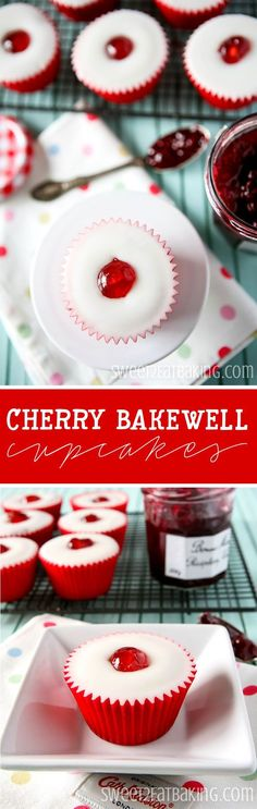 Cherry Bakewell Cupcakes Recipe by http://Sweet2EatBaking.com - Inspired by the bakewell tart. Made with ground almonds, almond extract, raspberry conserve core, and glace icing with a sweet glace cherry.