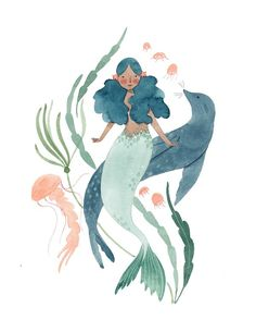 Mermaid & sea lion julianna swaney coastal d Lion Illustration, Mermaid Illustration, Watercolor Illustration, Vampire Illustration, Watercolor Mermaid, Mermaid Art, Watercolor Paintings, Mermaid Paintings, Vintage Mermaid