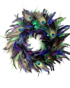 "Peacock Feather Wreath 14""                                                                                                                                                                                 More"