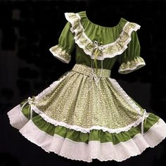 eb78f091e248 Square Dance Outfit, Fun and Fancy Originals, New, Vineyard Green! Clogs  Outfit
