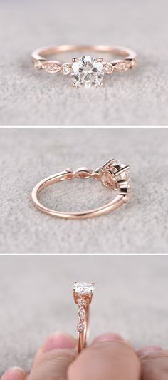 Moissanite in Rose Gold Engagement Ring - Gardening Aisle wedding rings pictures simple vintage sets wedding rings sets kay jewelers wedding rings wedding rings for men zales wedding rings cheap wedding rings womens wedding ring sets unique wedding bands Rose Gold Engagement Ring, Vintage Engagement Rings, Wedding Engagement, Wedding Bands, Solitaire Engagement, Engagement Ring Simple, Rose Gold Promise Ring, Vintage Rings, Rose Gold Rings