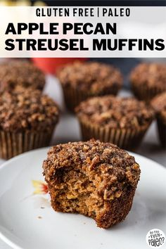 Gluten Free Apple Pecan Streusel Muffins Comforting warm muffins that are perfect for a cozy fall dessert With apple toasted pecans and an unbeatable pecan streusel thes. Paleo Muffin Recipes, Gluten Free Recipes For Breakfast, Healthy Low Carb Recipes, Free Breakfast, Paleo Breakfast, Vegetarian Desserts, Paleo Dessert, Dessert Recipes, Gluten Free Bars