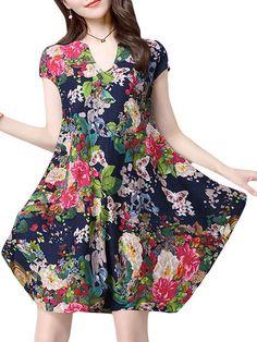 Women Floral Printed V-Neck Short Sleeve Vintage Dresses