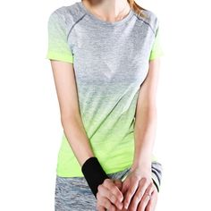 Women Sports Running Fitness T Shirt Gradient Colors Short Sleeve Stretch Quick Dry Breathable Crop Tops New Arrival