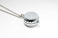 Pill box chrome plated SOS Talisman pendant