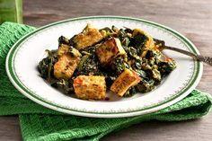 Tofu Saag Paneer (Tofu With Spinach, Ginger, Coriander and Turmeric)