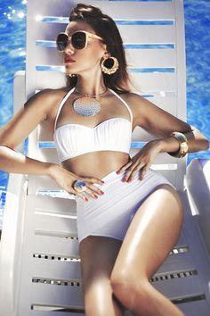 White retro high waisted bikini bathing suit bikini one piece swimwear swimsuit summer beach Lingerie, Street Style 2014, Pin Up, Glamour, The Bikini, Bikini Beach, Bathing Beauties, Up Girl, Swimsuits