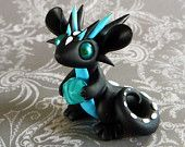 Black and Turquoise Scrap Dragon