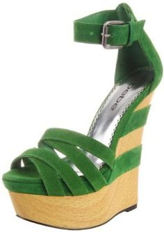 bebe Women's Clarice Wedge Sandal in Green Suede. Green Suede, Black Suede, Wedge Sandals, Wedge Shoes, High Heels Stilettos, Pumps, Exclusive Shoes, Peep Toe Shoes, Glass Slipper