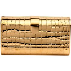 Gold Rebekah Croc Clutch (£1,040) ❤ liked on Polyvore featuring bags, handbags, clutches, crocodile handbags, beige purse, gold purse, crocodile purse and croc handbags