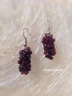 Garnet earrings Gemstone earrings Wedding earrings Bohemian