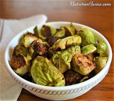 Balsamic Brussels Sprouts   Only 73 Calories   Caramelized, Crunchy, Sweet & Savory   Tastes like candy but packed with nutrients!  For MORE RECIPES, fitness & nutrition tips please SIGN UP for our FREE NEWSLETTER www.NutritionTwins.com
