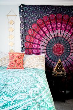 Bohemian Paradise ☽ ✩ Save 25% off all orders with code PINTERESTXO at checkout | Bohemian Bedroom + Home Decor | Mandala Tapestries, Wall Hanging & Twilights Decor by Lady Scorpio | Colorful tapestry • Shop Now LadyScorpio101.com | @LadyScorpio101 | Photography by Luna Blue @Luna8lue ••