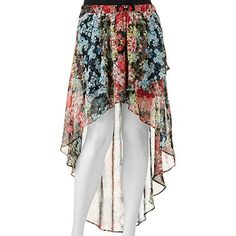 Joe Benbasset Floral Chiffon Hi-Low Maxi Skirt - Juniors