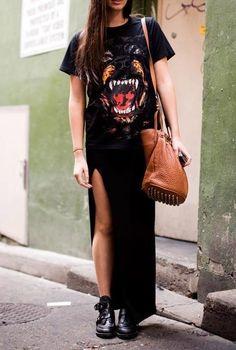 Maxi skirts + casual tees.